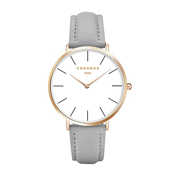 61713a047a33 Chronos Men Women Quartz Watch Unisex Grey PU Leather Watch Causal  Minimalist Rose Gold Thin Rose