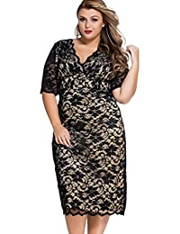 Women's V-Neck Lace Floral Overlay Short Sleeve Party Cocktail Dress Plus Size