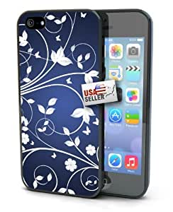 White and Blue Floral Art Black Plastic Cover Case for iphone 5c