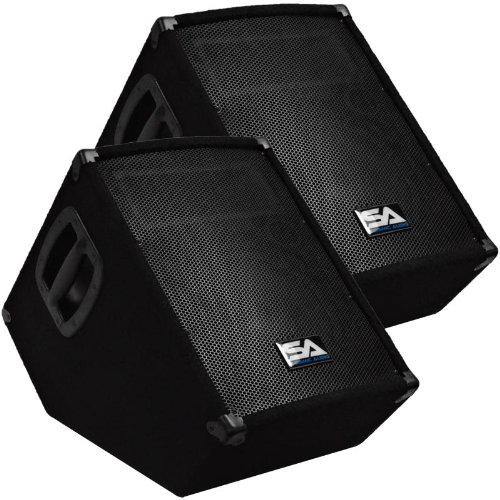 Seismic Audio - SA-10MT-PW-Pair - Pair of Powered 2-Way 10'' Floor / Stage Monitor Wedge Style with Titanium Horns by Seismic Audio