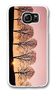 Galaxy S6 Case, S6 Case,Beech Trees At Sunrise Shock Absorption Bumper Case Protective Slim Fit Hard PC Cover for Samsung Galaxy S6 White