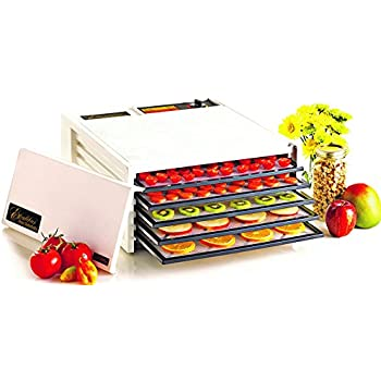 Excalibur EXD500W 5-Tray Electric Food Dehydrator with Adjustable Thermostat Accurate Temperature Control Faster and Efficient Drying Includes Guide to Dehydration Made in USA, 5-Tray, White
