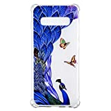 Galaxy S10+ Case, for [S10 Plus], MerKuyom Lightweight [Clear Crystal Transparent] Slim-Fit Flexible Gel Soft TPU Case Cover for Samsung Galaxy S10+ / S10 Plus, W/Stylus (Blue Peacock Butterfly)