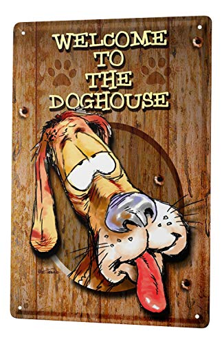 Decorative Tin Sign Funny Signs Welcome to the Dog House Fun Metal Sign 8X12