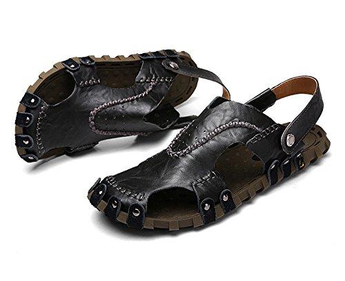 Das neue Männer Schuh Echtleder Sandalen Freizeit Strand Dualer Gebrauch Trend Männer Sandalen ,schwarz,US=6,UK=5.5,EU=38 2/3,CN=38