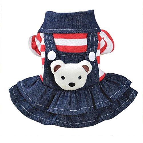 vmree Dog Apparel, Small Pet Dog Cat Puppy Dress Strap Denim Skirt Clothes Apparels (XS, Red)