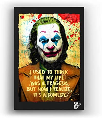 Arthur Fleck Joaquin Phoenix From Joker 2019 Movie Pop Art Original Framed Fine Art Painting Image On Canvas Artwork Movie Poster Posters Prints Amazon Com