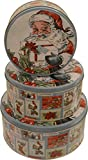 Christmas cookie Tins, round nested, 3 sets of 3 tins, set of 9