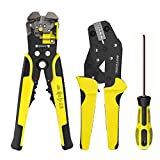 Wire Stripper and Crimping Tool Meterk 0.14-6mm² Adjustable Crimping Range With Carbon Steel + Alloy