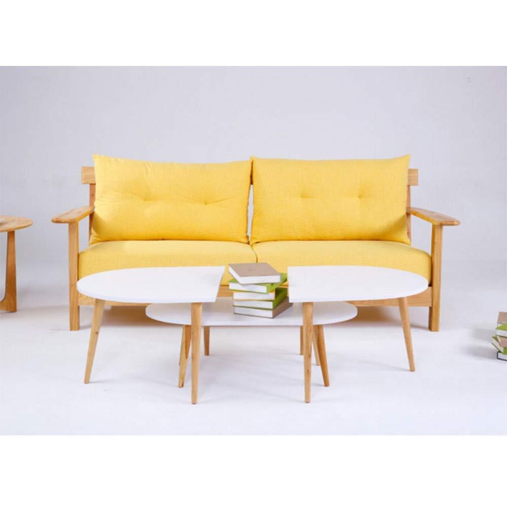 NAN コーヒーテーブルサイドテーブル現代的なソリッドウッドオーバルコーヒーテーブルクリエイティブカジュアルコーヒーテーブルサイドテーブル ワークベンチ (色 : 白, サイズ さいず : 39cm) 39cm 白 B07H6Y7V78