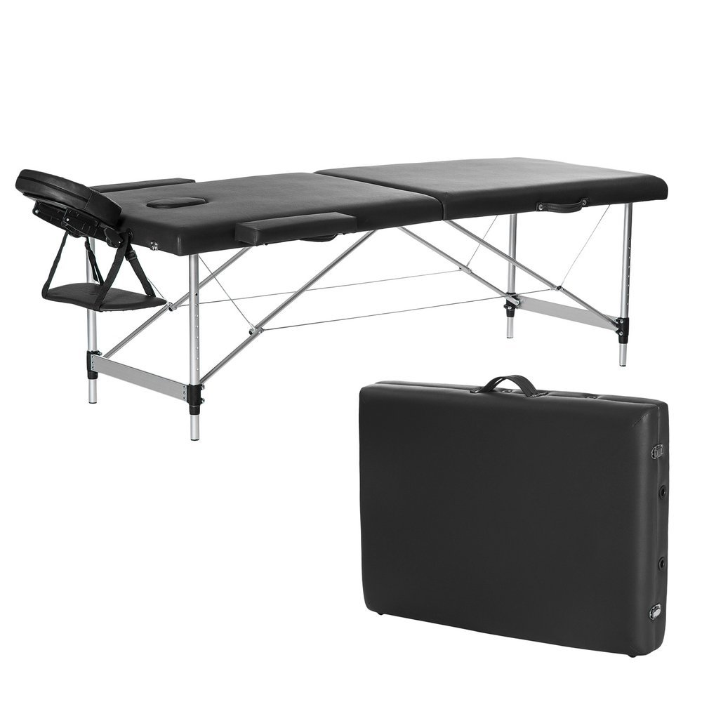 3 Section Folding Portable Massage Table, Height Adjustable Massage Bed for Facial SPA Beauty Bodybuilding Salon Tattoo Bed with Carry Case Black Alther-K-DJ