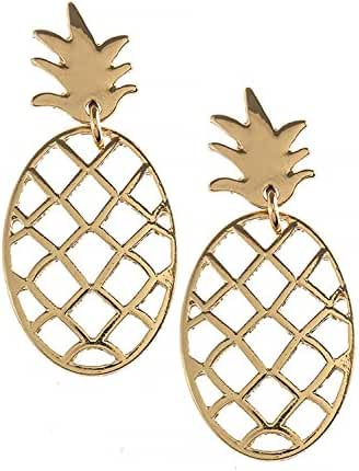 TRENDY FASHION JEWELRY PINEAPPLE OUTLINE DROP EARRINGS BY FASHION DESTINATION