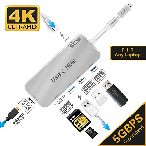 USB C Hub,SCS ETC USB C Adapter 3.1 with Type C Power Charging Port, HDMI 4K Port,3USB 3.0 Port,SD&TF Card of USB C Laptop, Equipped with a Separate USB Suitable for any Computer Device (Silver) by SCS ETC (Image #4)