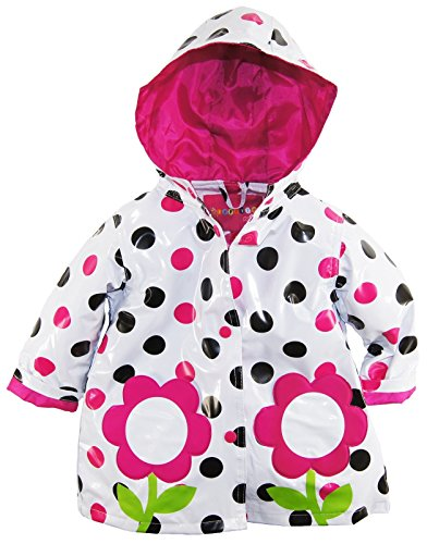 Wippette Baby Girls Infant Waterproof Hooded Floral Polka Dots Raincoat Jacket, Fuchsia, 24 Months