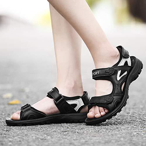 Sports Pieds Scratch Réglable Gracosy Noir Marron Confortable En Pour Sandales Filles Larges Femmes Chaussures Marche Cuir Plates De À Blanc Trekking Été Randonnée AU7OExUw