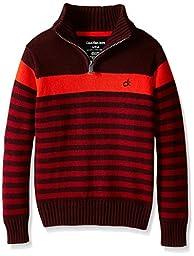 Calvin Klein Little Boys\' Track Stripe Half Zip Sweater, Burgundy,Small(4)