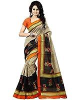 BikAw Women's Bhagalpuri Silk Saree wthout Blouse (SF3179, Multicoloured ,Free Size)