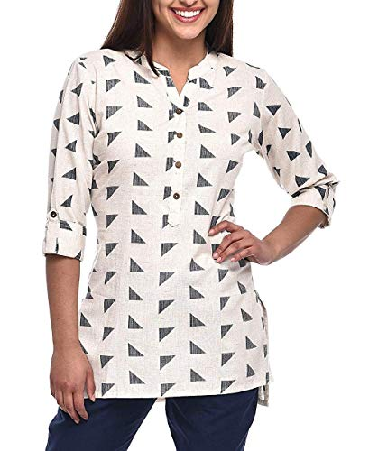 Ladyline Women's Pure Cotton Printed Tunic Top 3/4 Sleeves Roll-up Button Neck Short Kurti Kurta (White, 50)