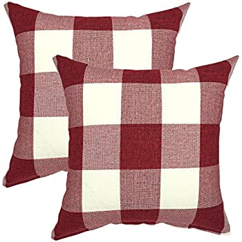 YOUR SMILE Valentines Day Retro Farmhouse Tartan Plaid Cotton Linen Decorative Throw Pillow Case Cushion Cover Pillowcase for Sofa 18 x 18 Inch , Set of 2 , Red White