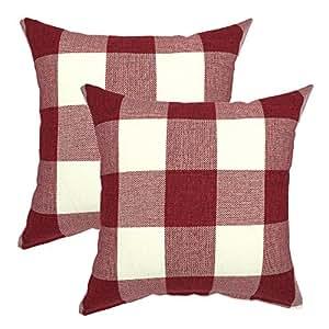 YOUR SMILE Christmas Classic Retro Farmhouse Buffalo Tartan Checkers Plaid Cotton Linen Decorative Throw Pillow Case Cushion Cover Pillowcase for Sofa ...