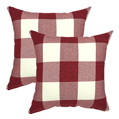 YOUR SMILE Retro Farmhouse Buffalo Tartan Chequer Plaid Cotton Linen Decorative Throw Pillow Case Cushion Cover Pillowcase for Sofa,Set of 2 (Red, 18