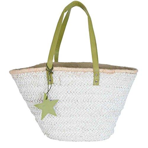 Clayre & Eef BAG304GR borsa spiaggia cestino bianco manico verde borsa per la spesa circa 61 x 16 x 30 cm