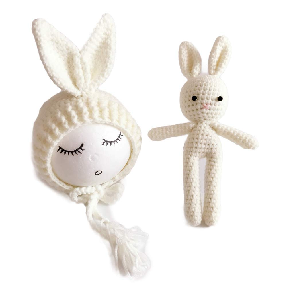 Funbase Knit Rabbit Bear Ear Baby Cap Photo Prop Beanie Toy for 0-2 Month Newborns