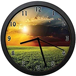 YiiHaanBuy Rustic Decorative Wall Clock,Dramatic Sunset Agricultural Field Sunbeams Bursting Through Dark Clouds Scene-Office,Bedroom,Kitchen,Bathroom,Silent Battery Quartz Wall clock-12 inch