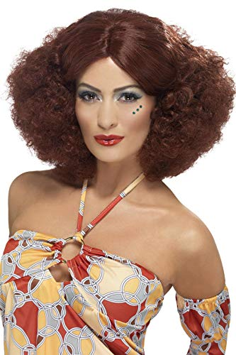 Smiffys Womens 70s Auburn Afro Wig with Centre Part, One Size, 5020570432396