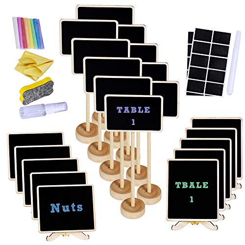 (Supla 20 Pcs 3 Style Mini Chalkboard Tabletop Signs with Stand Place Holders Candy Food Dessert Markers Table Setting Signs Party Wedding Message Memo Board Buffet Table Number Name Plant)