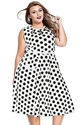 Dearlovers Women 50s Retro Short Sleeves Party Swing Dress