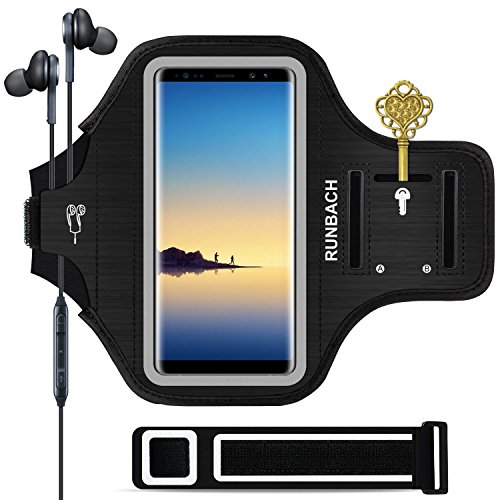 RUNBACH Galaxy Note 10+/ 9/8 Armband, Sweatproof Running Exercise Gym Cellphone Sportband Bag with Fingerprint Touch/Key Holder and Card Slot for Samsung Galaxy Note 10+/Note 9/Note 8 (Black) from RUNBACH