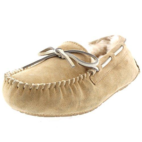 Beige Australiana Pecora Pelliccia Mocassinos Donna Camoscio Di Pantofole nTCAWIqzw1
