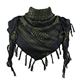 Explore Land Cotton Shemagh Tactical Desert Scarf Wrap (Black and Green)