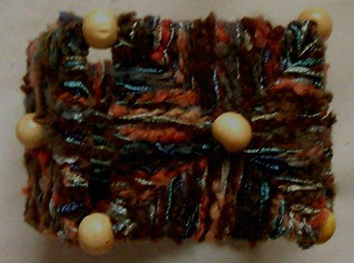 Earth Tones Beaded Needlepoint Box Bangle Bracelet