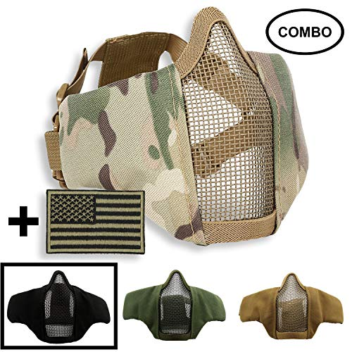 SPIKELAB Foldable Airsoft Half Face Metal Mesh Mask and US Flag Patch Combo, Adjustable Military Tactical Mask with Military Emblem Patch in Four Colors, PMC Outfit (Black)