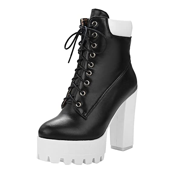 Amazon.com | Latasa Womens Platform Block High Heel Lace-up Ankle Boots | Ankle & Bootie