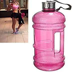 2.2 Litre Water Bottle,BPA Free Half Gallon Water Bottle - Drinking Container Jug - Resin Fitness Bottle for Gym,Dieting,Bodybuilding,Outdoor Hiking & Office Leisure Fitness By SGODDE Light Pink