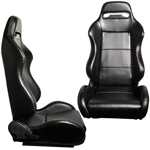 Racing Seats Fits Most Vehicles | JDM Style Black PVC Leather With Yellow Stitch Gaming Chair Playseats Pair | by IKON MOTORSPORTS