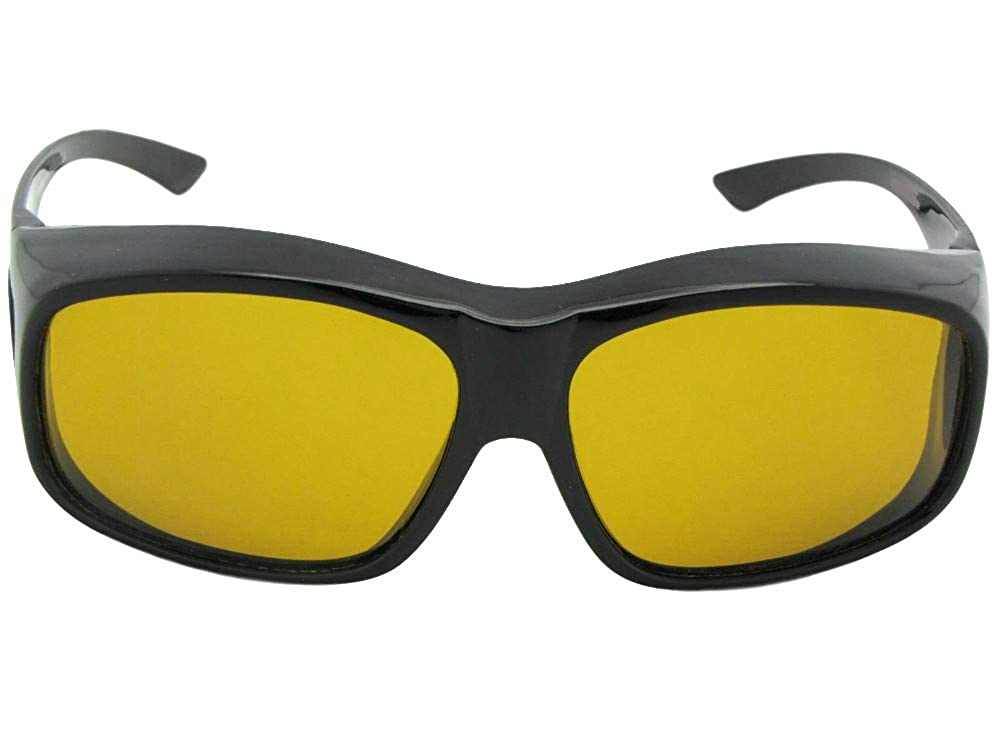 b8296c4d2c78 Amazon.com  Largest Polarized Fit Over Sunglasses Worn Over Prescription Glasses  Style F19 (Black-Dark Yellow Lens