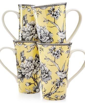 222 Fifth Adelaide Yellow Set 4 Latte Mugs