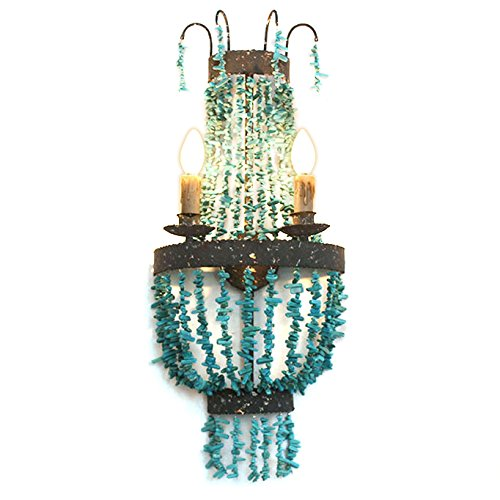 (JinYuZe Coastal 2-Light Turquoise Beaded Metal Band Retro Vintage Indoor Wall Sconce in Rust)