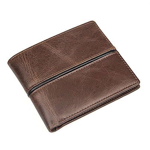 horizontal LIGYM zipper short change wallet Men's leather Coffee retro AUwHPpq