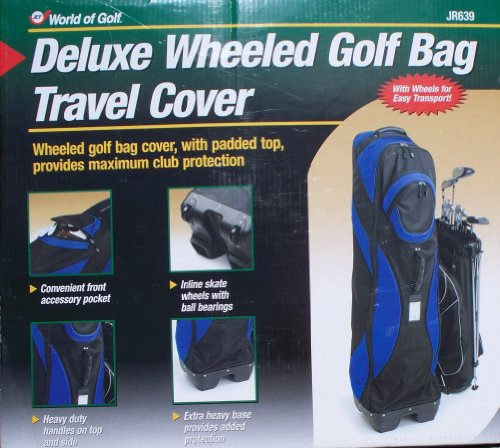 Deluxe Wheeled Golf Bag Travel Cover, w/Padded Top, BLACK/BLUE by World of Golf
