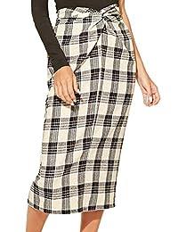 WDIRARA Falda de Mujer Estilo clásico con botón de línea A de Cintura Alta, Longitud Media de la Rodilla