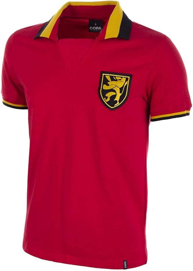 Large Red Copa Mens Belgium 1960s Short Sleeve Retro Football Shirt