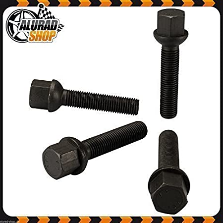 Negro 40mm Haskyy 10 Tornillos de Rueda Pernos Negro Esf/érico R13 Bola M14x1 5 en Varios Largos de Mango para Elegir