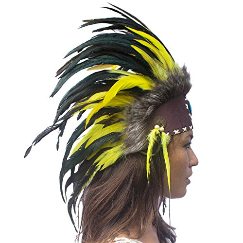 [Unique Feather Headdress- Native American Indian Inspired- Handmade by Artisan Halloween Costume for Men Women with Real Feathers - Yellow with] (Film Inspired Halloween Costumes)