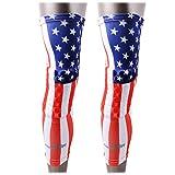 COOLOMG 2 Packs (1 Pair) Kids Adult EVA Pads Crashproof Basketball Leg Knee Long Sleeve Protector Gear USA Flag X-Large