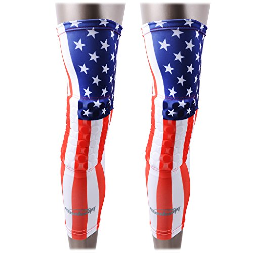 COOLOMG 2 Packs (1 Pair) Kids Adult EVA Pads Crashproof Basketball Leg Knee Long Sleeve Protector Gear USA Flag Small